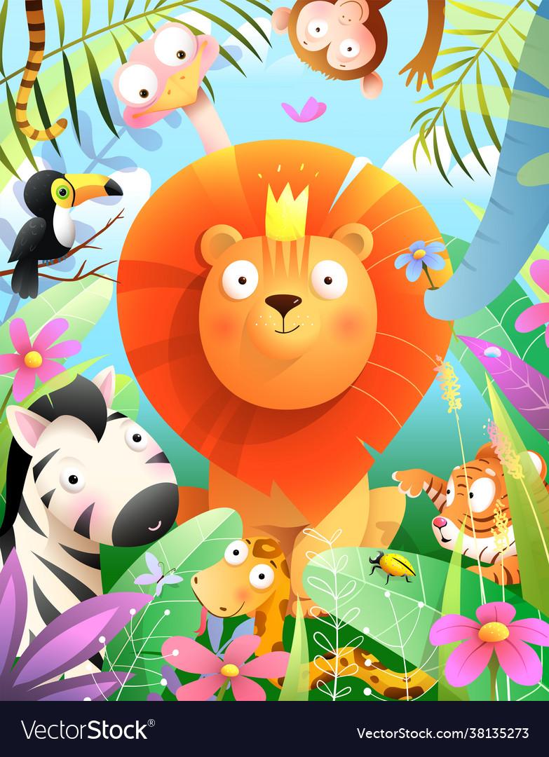 Jungle animals and lion kids african zoo cartoon