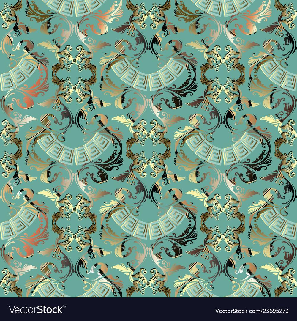 Ornate gold baroque 3d seamless pattern damask