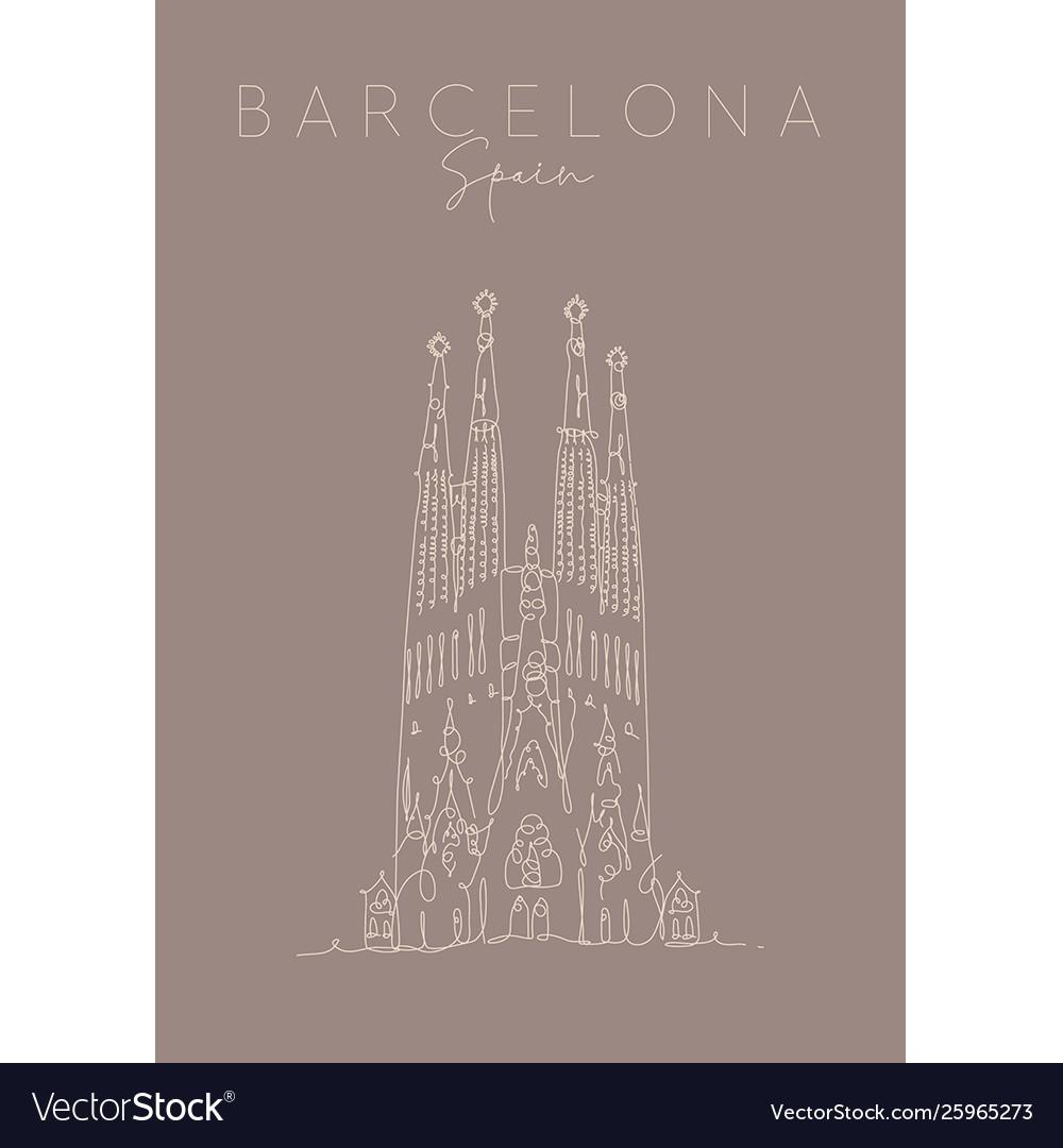 Poster barcelona sagrada familia brown