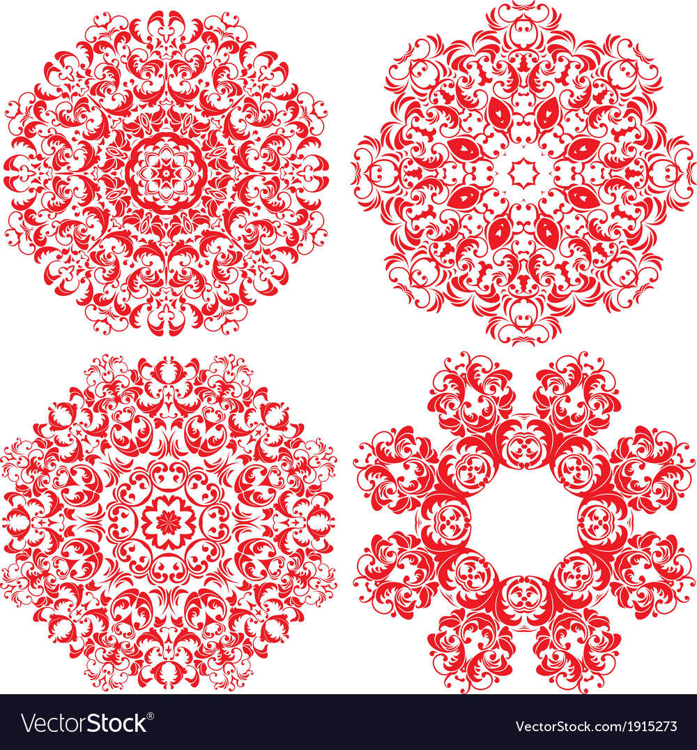- Set Of 4 One Color Round Ornaments Lace Floral Vector Image