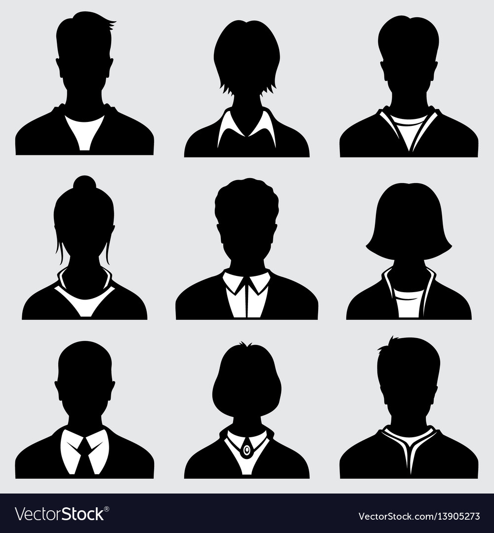 Woman and man head silhouettes anonymous person