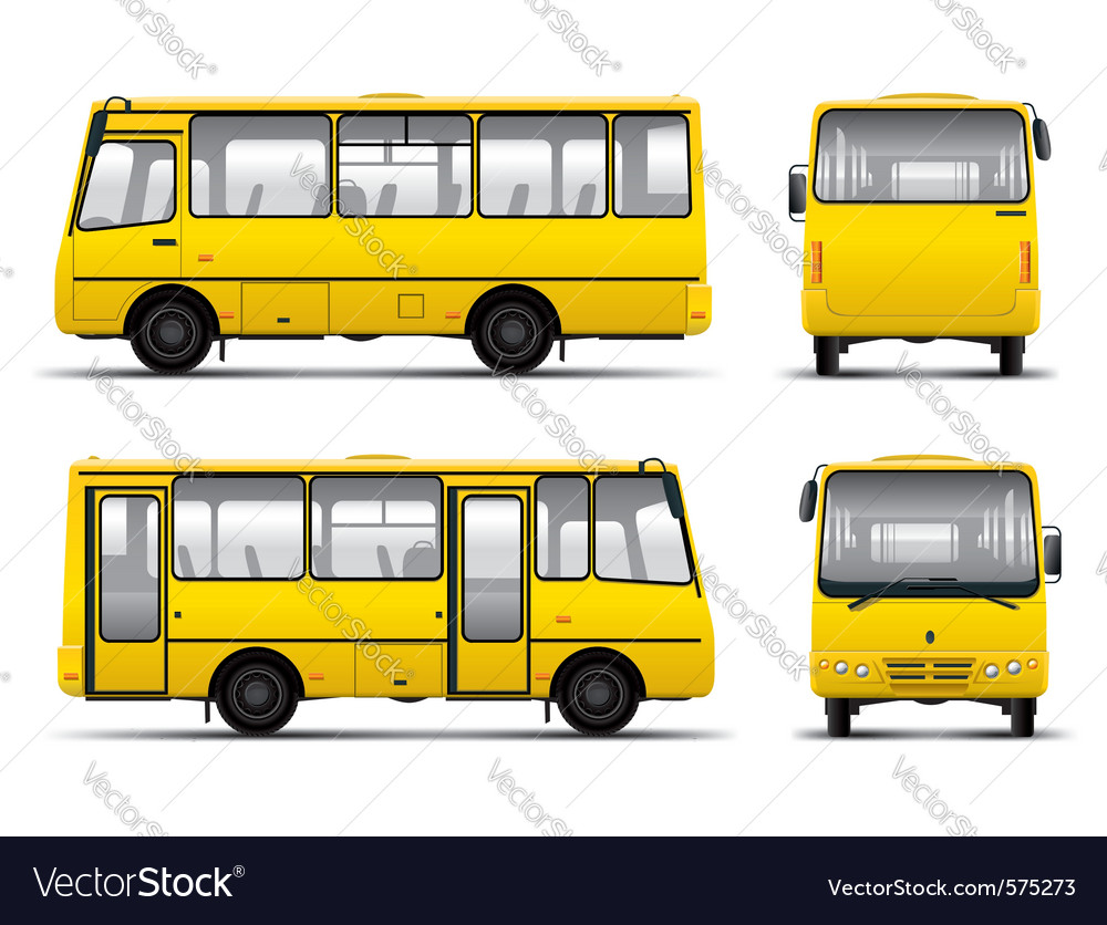Yellow minibus draft template isolayed over white vector image