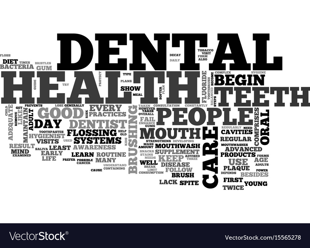 A guide to dental health text word cloud concept vector image