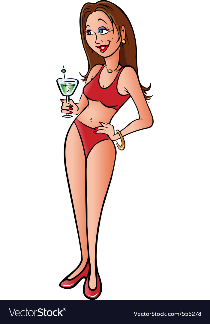 Bikini model martini vector image
