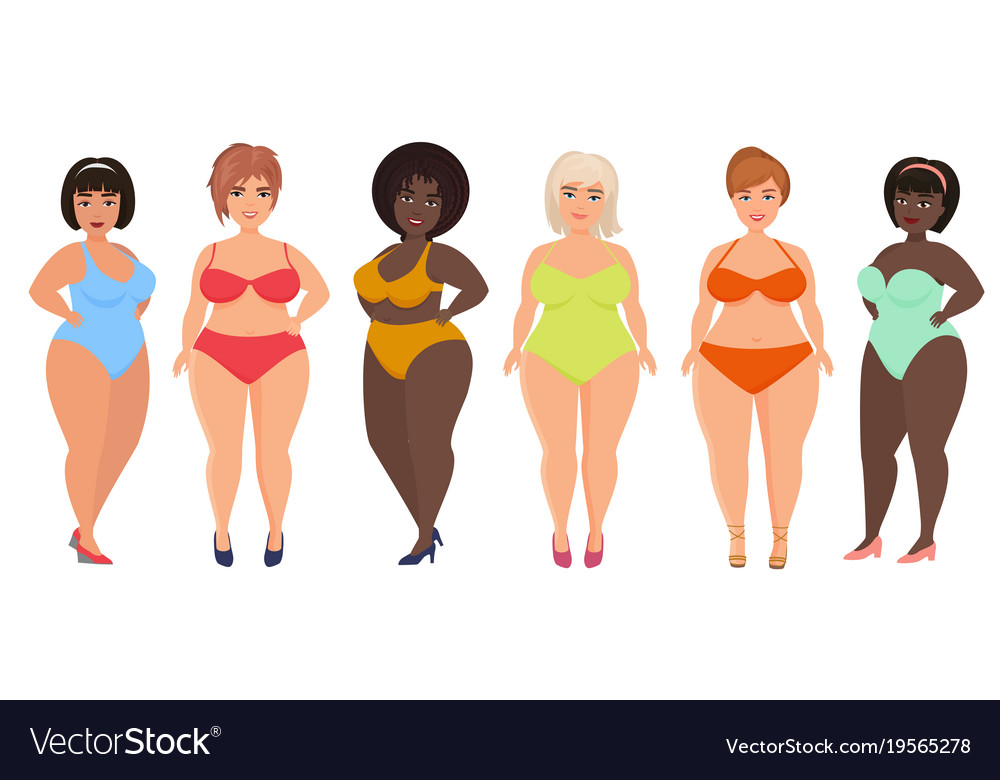 Cartoon beautiful plus size curved women in