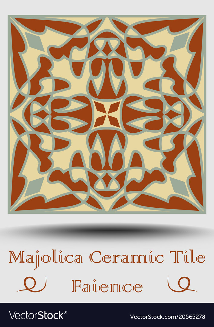 Ceramic Tile In Beige Olive Green And Red Vector Image