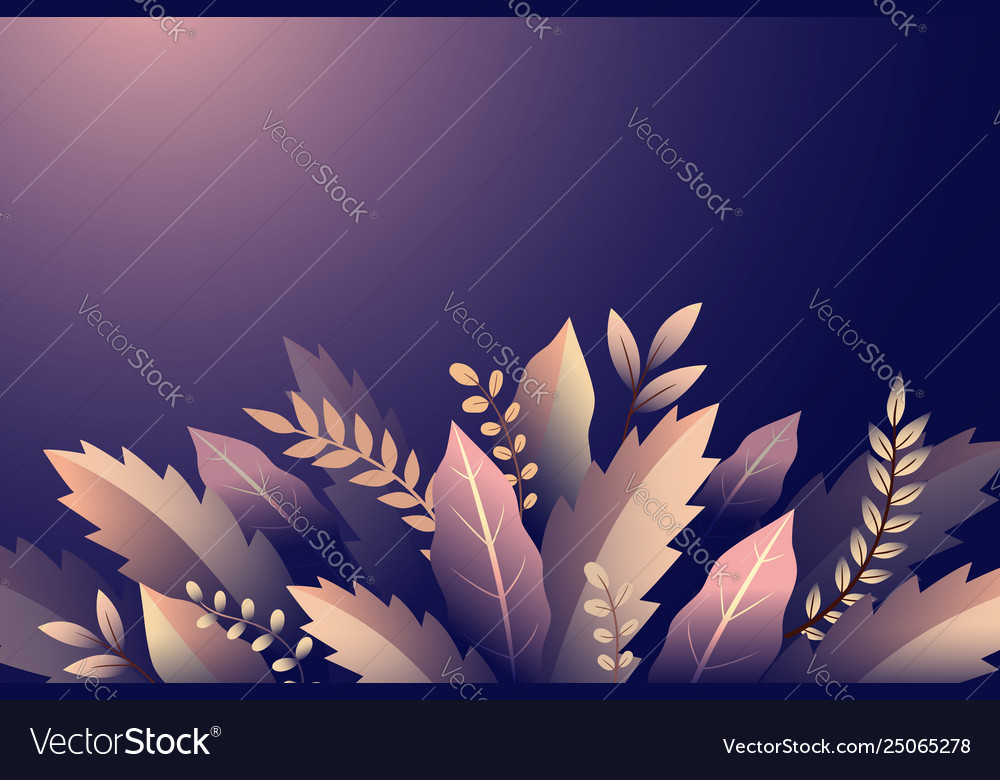 Design with branches and leaves floral ornament