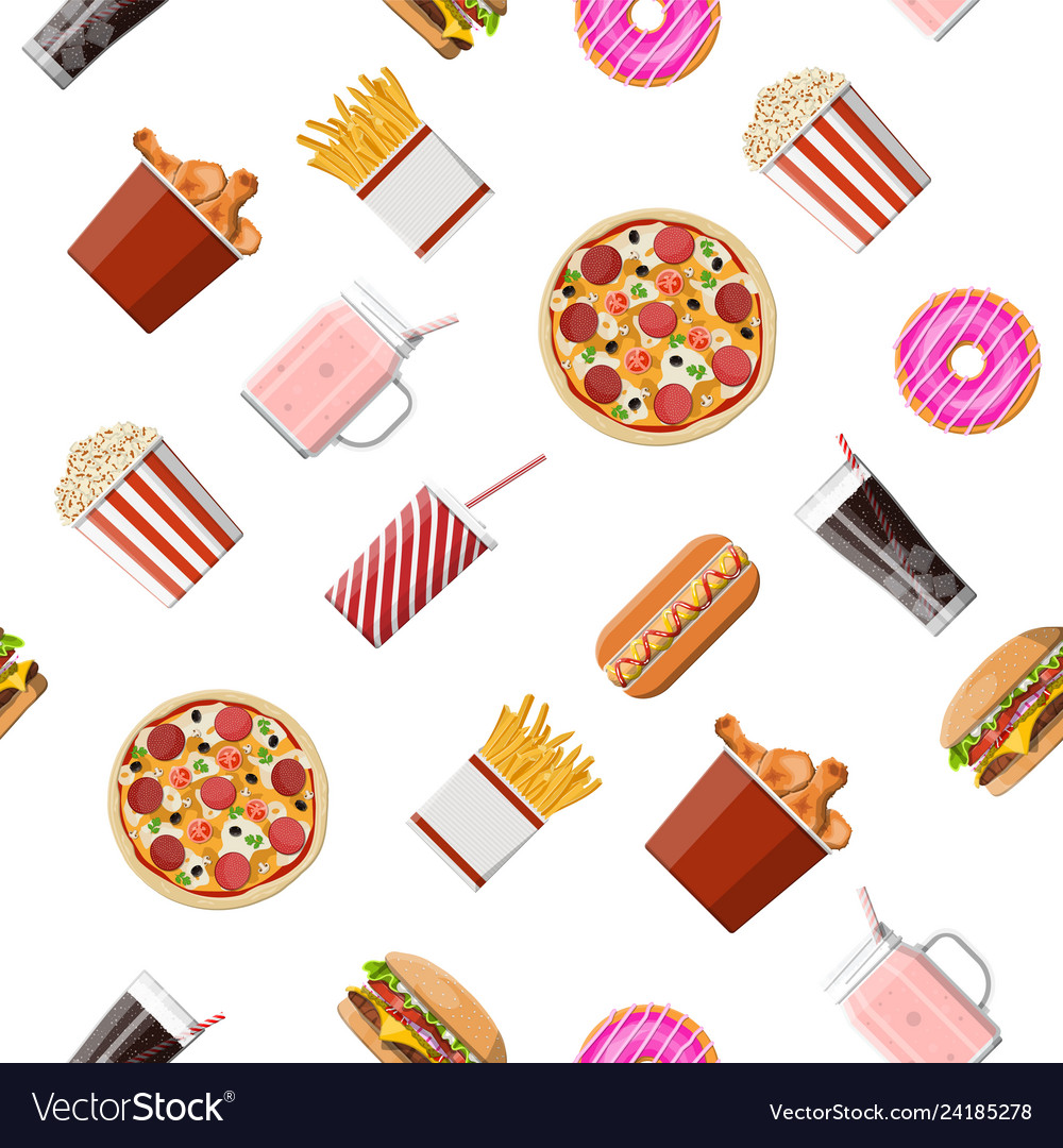 Fast food set seamless pattern