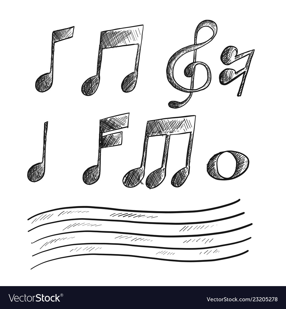Hand drawn sketch of music note