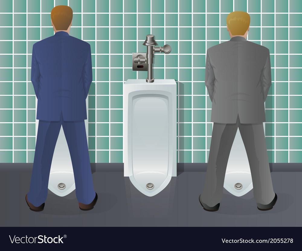 Men Using Urinal Vector Image
