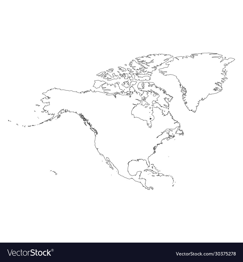 Picture of: North America Thin Black Outline Map Contour Map Vector Image