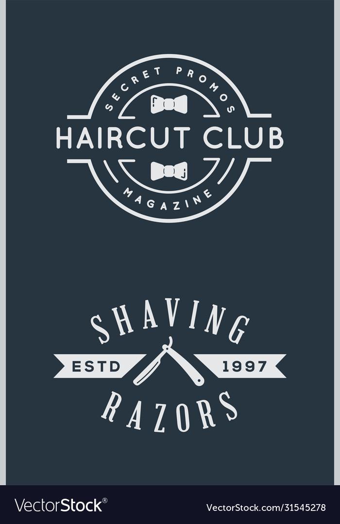 Old barbershop emblems and labels vintage male