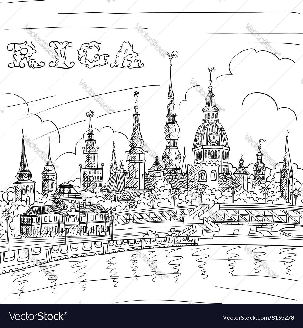 Old Town and River Daugava Riga Latvia