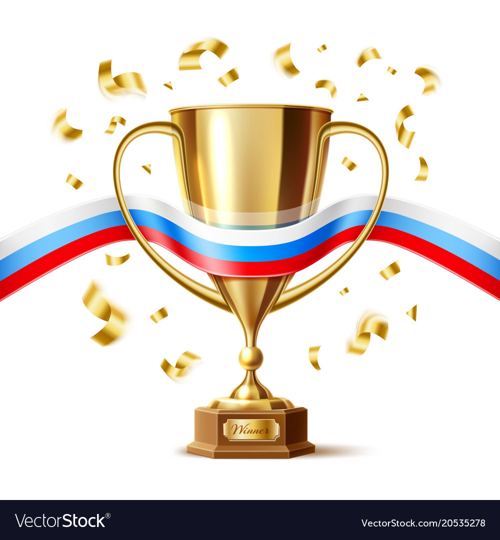 Realistic golden trophy cup russian flag