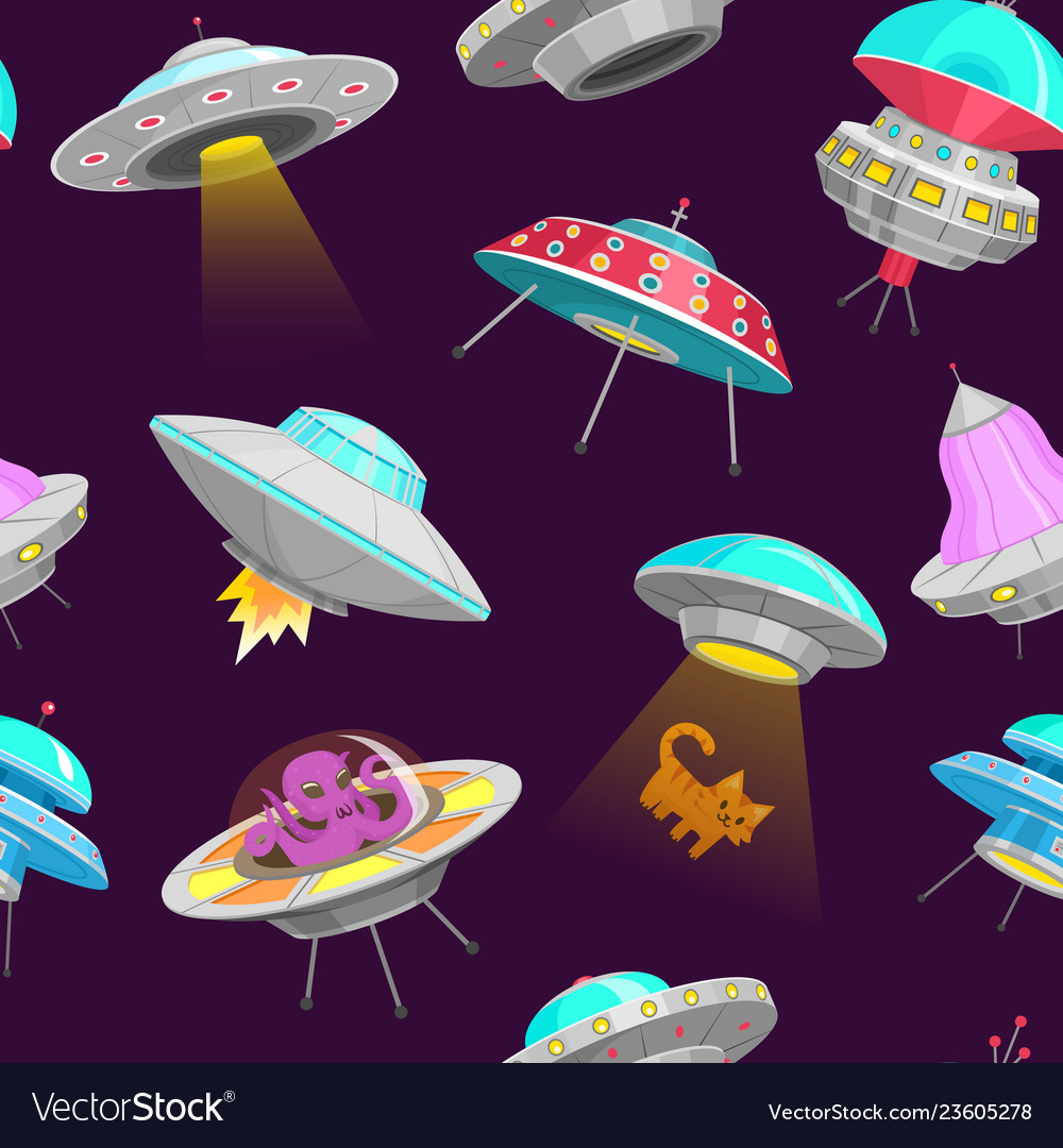 Ufo seamless pattern alien spaceships