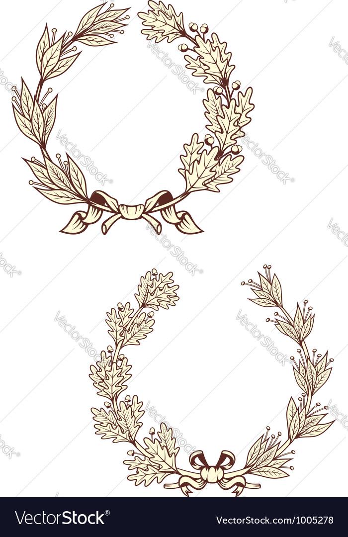 Vintage laurel wreathes vector image