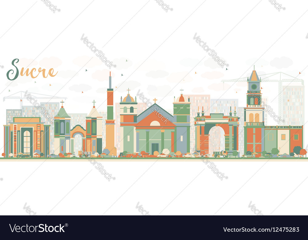 Abstract Sucre Skyline with Color Buildings