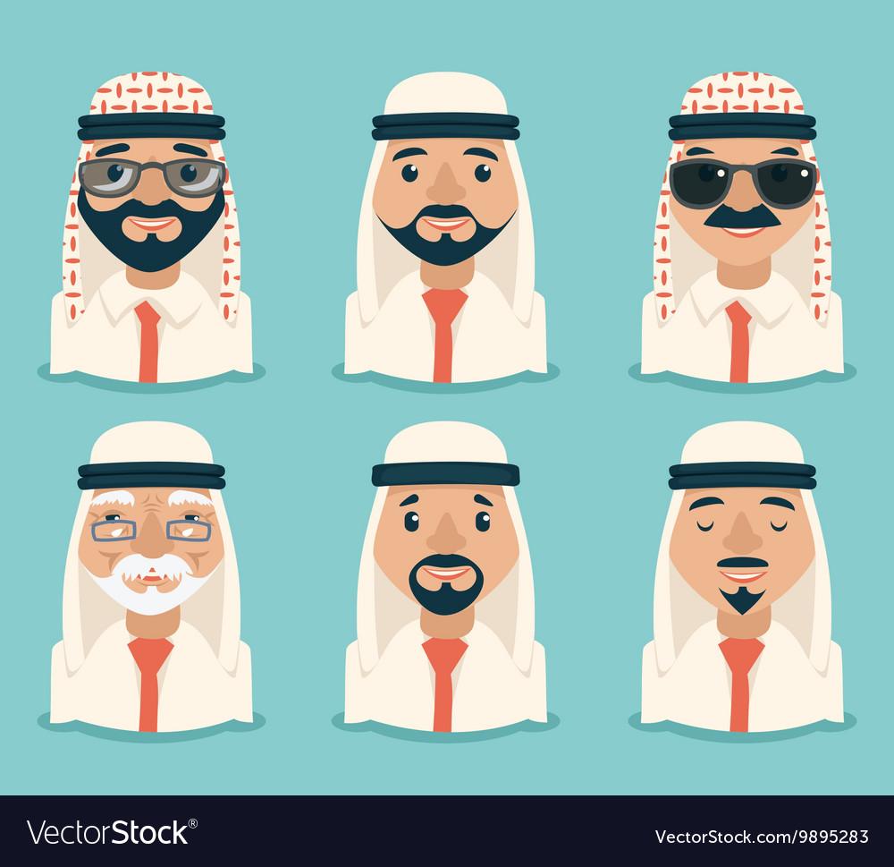 Arab Avatars Businessman Young Adult Old Retro