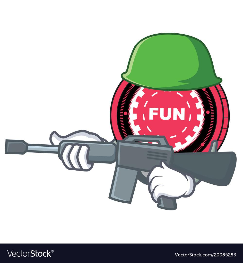 Army funfair coin character cartoon