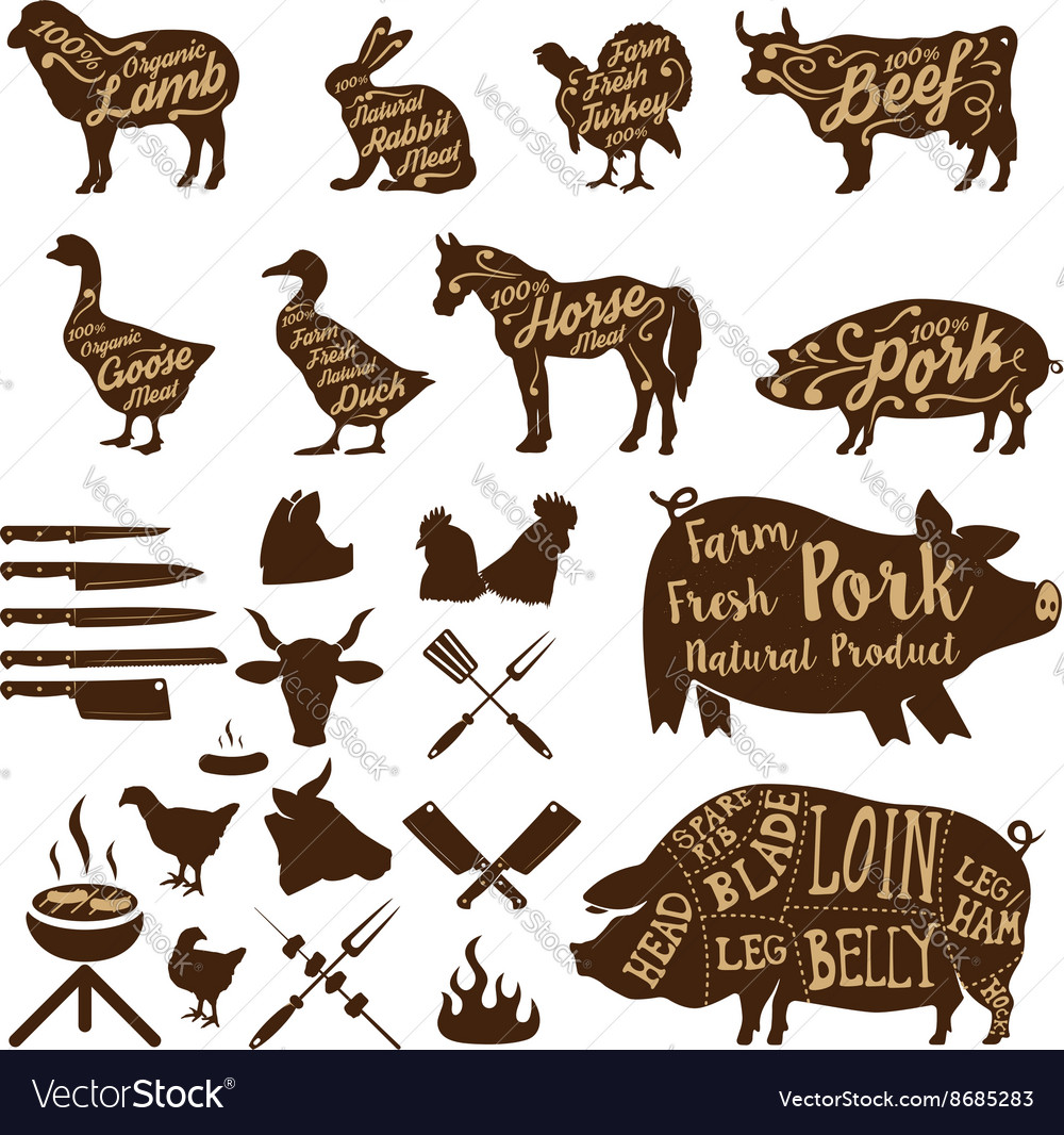 Butcher tools Farm animals Fresh pork