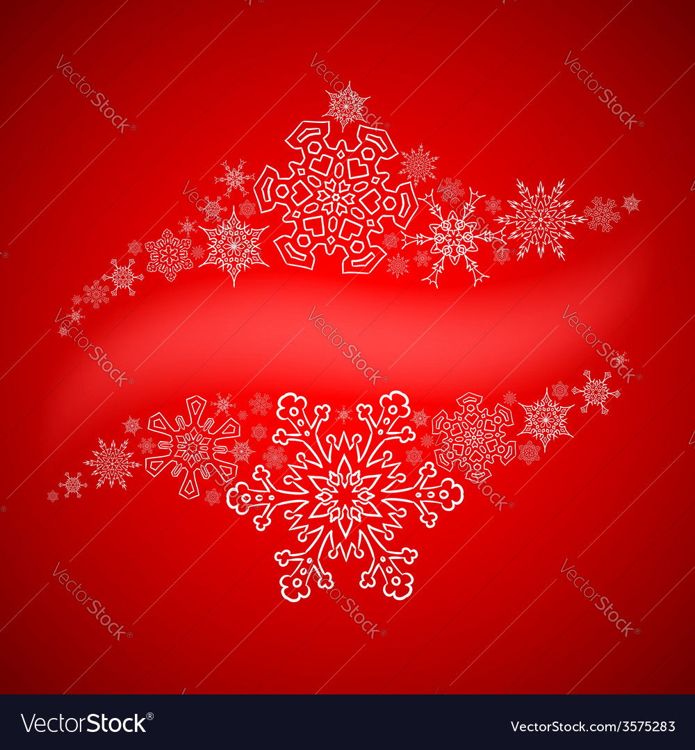 Christmas frame with drawn snowflakes lines vector image