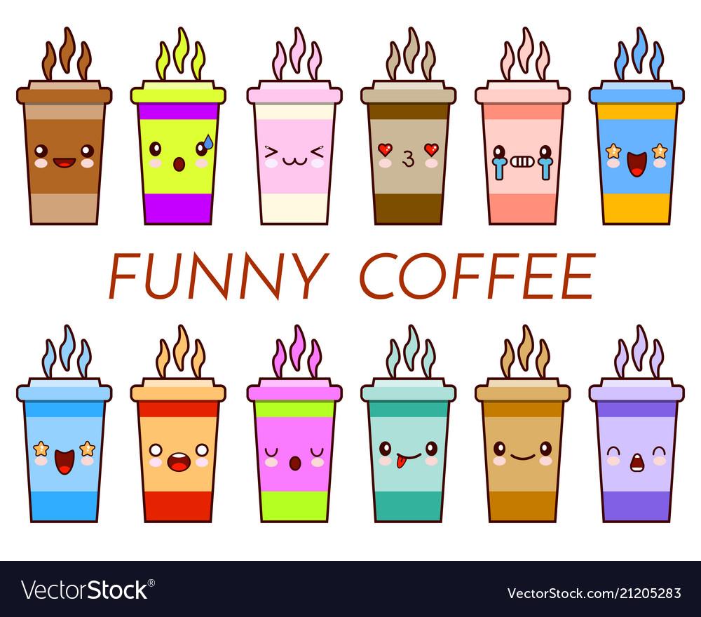 Cup of coffee tea set cartoon cute mug with face