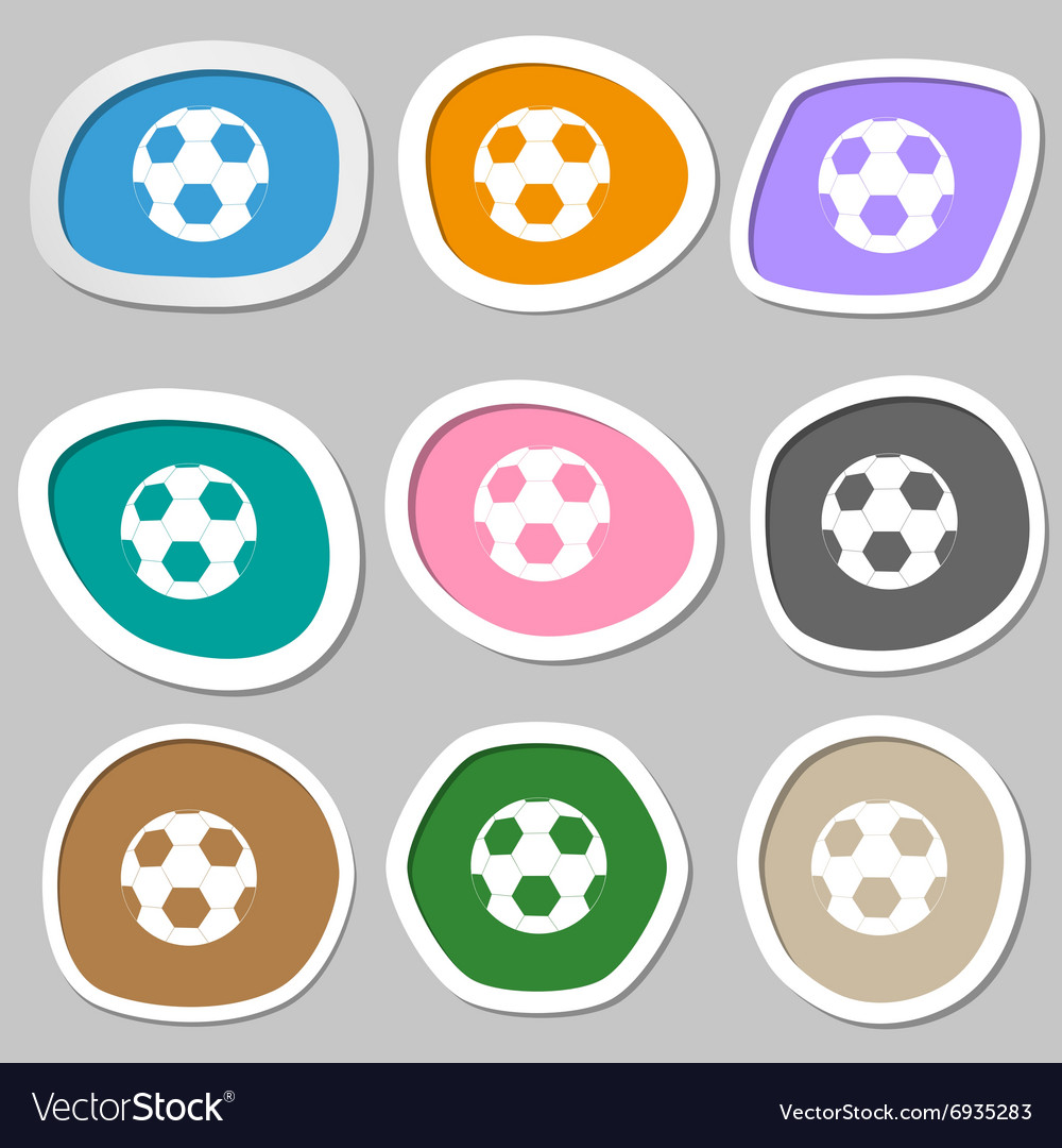 Football symbols Multicolored paper stickers