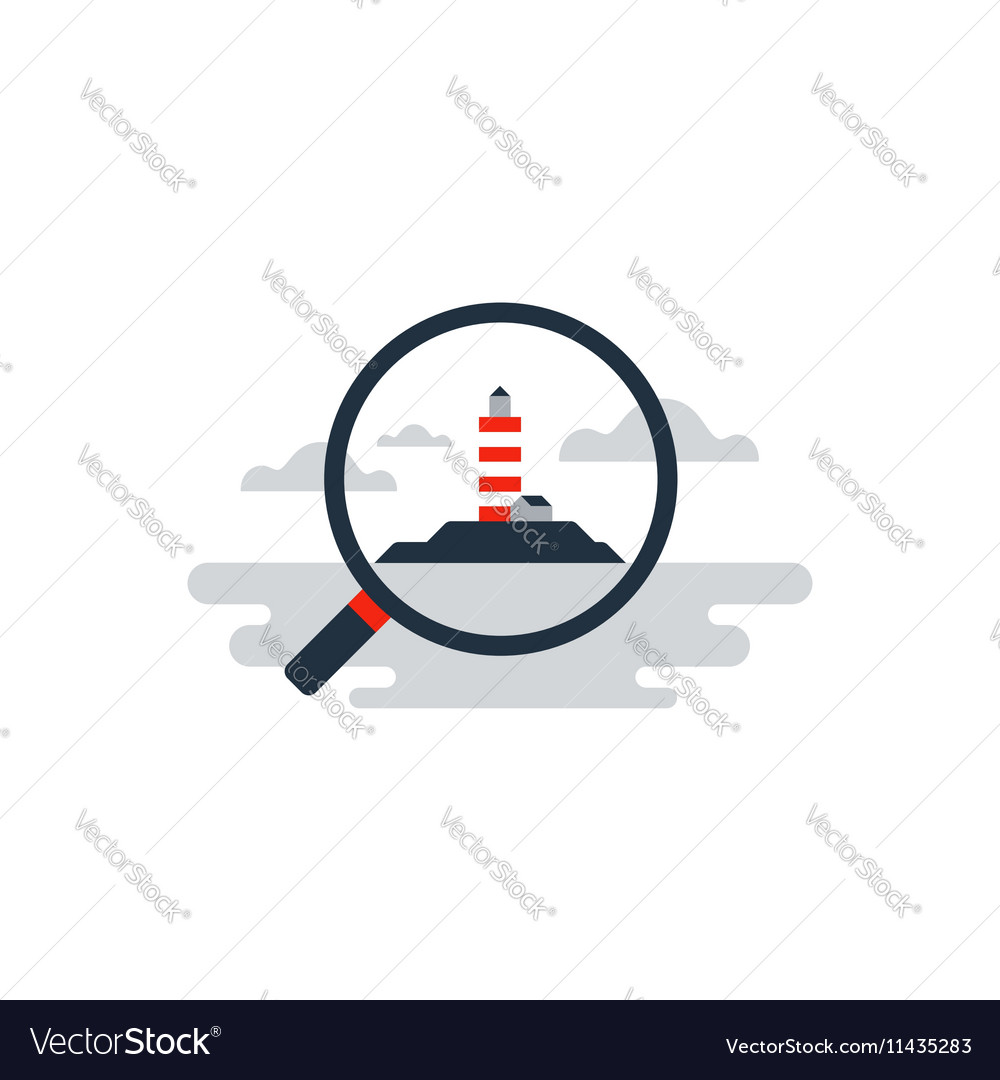 Future investment lighthouse on horizon vector image