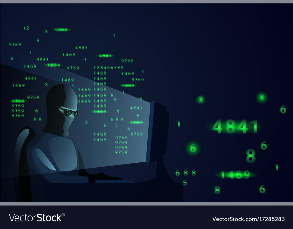 Hacker man behind desktop computer night attack