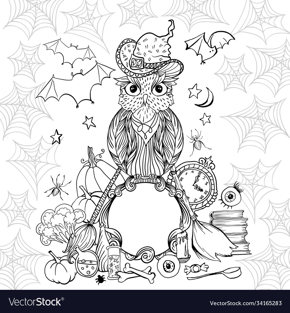 Halloween coloring page with owl in hat witch