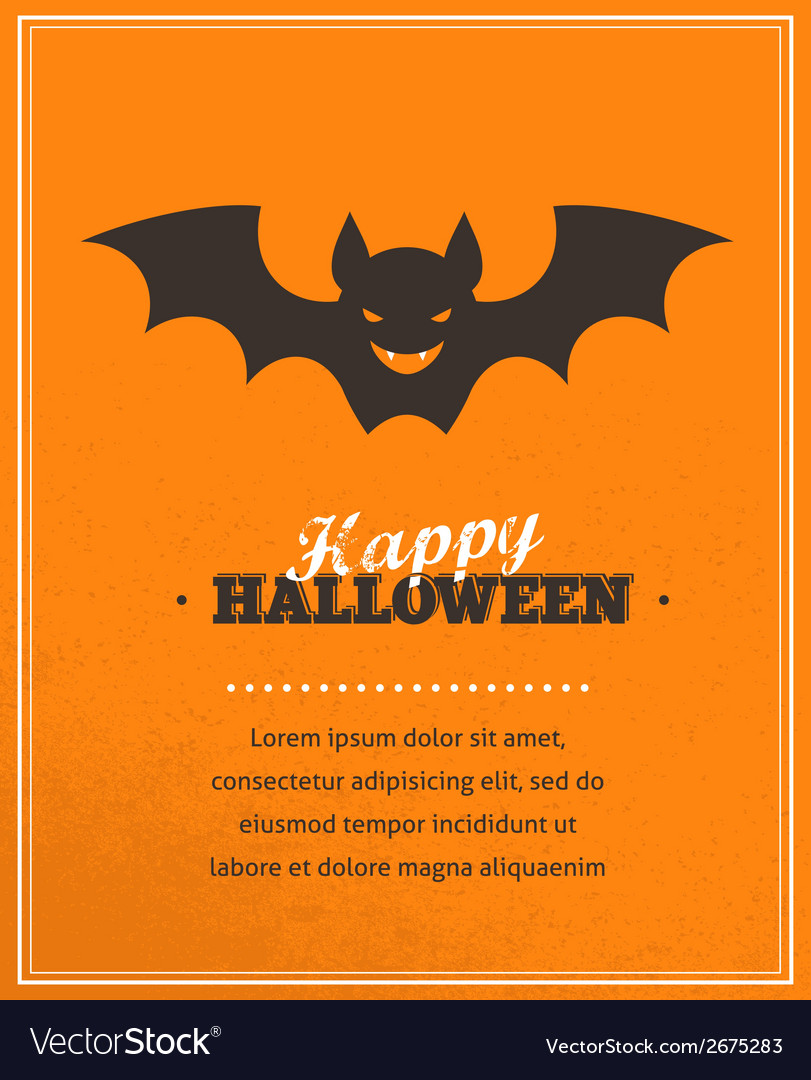 halloween cute poster with bat silhouette vector image