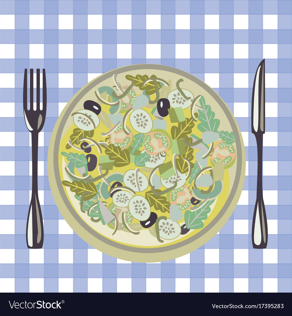 Healthy fresh green food in a plate and vector image