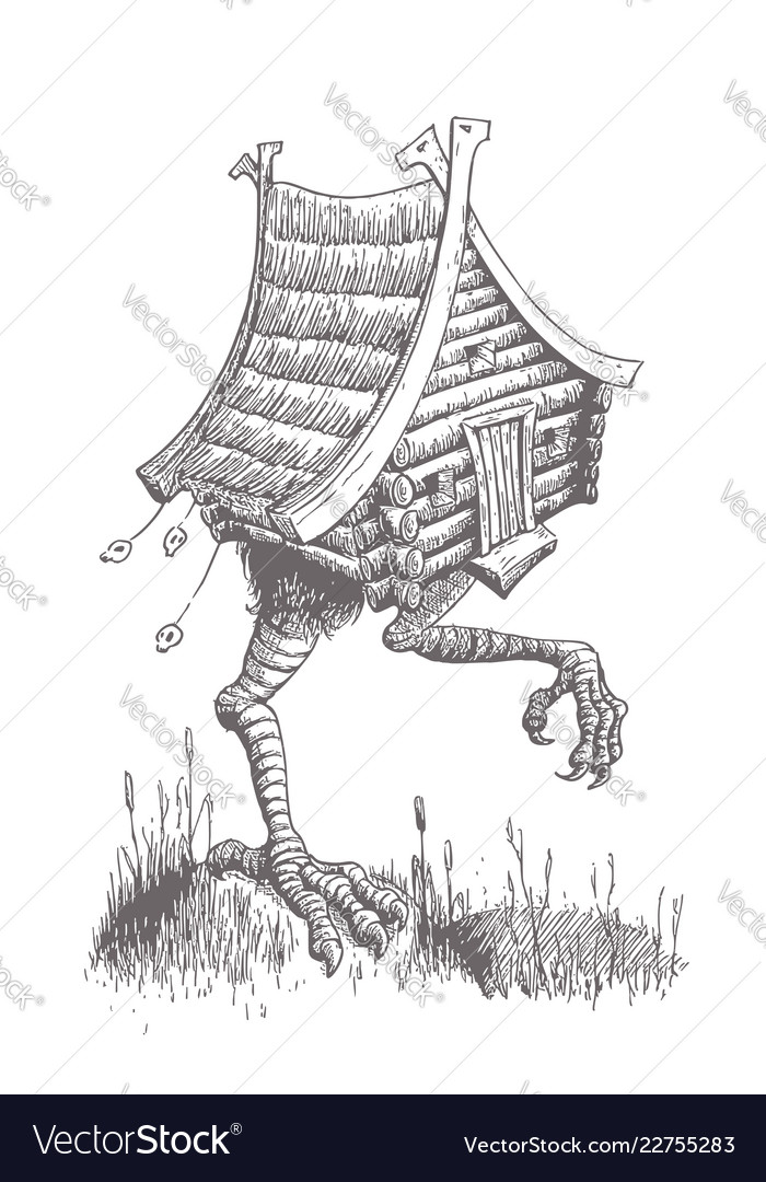 Hut on chicken legs goes through the swamp the