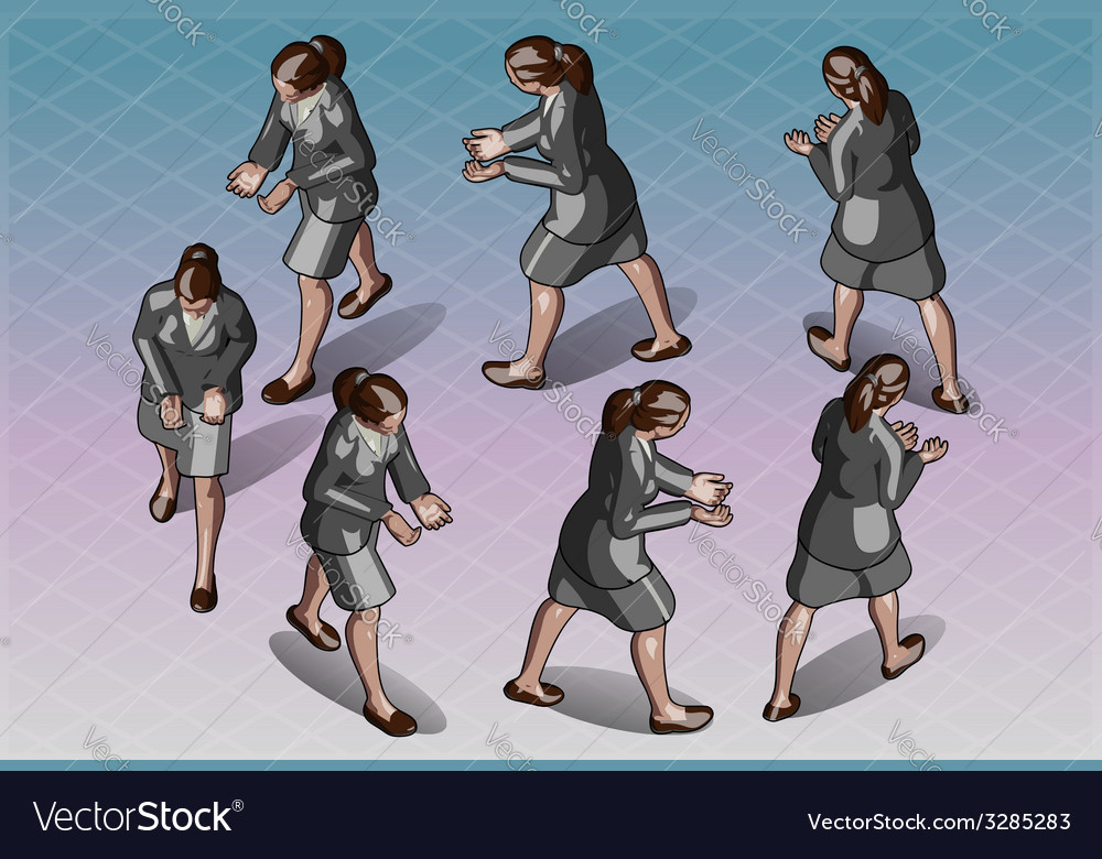 Isometric Woman that Transporting Something