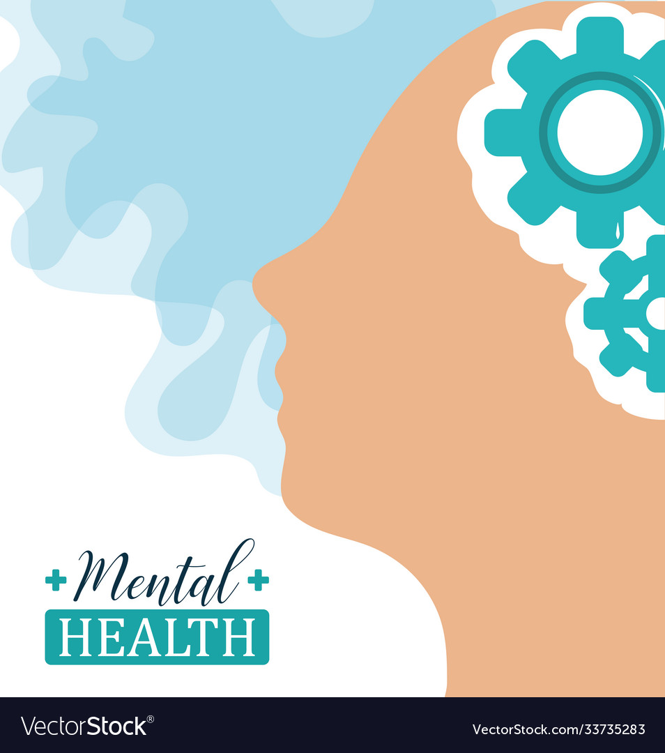 Mental health day human head brain gears solution