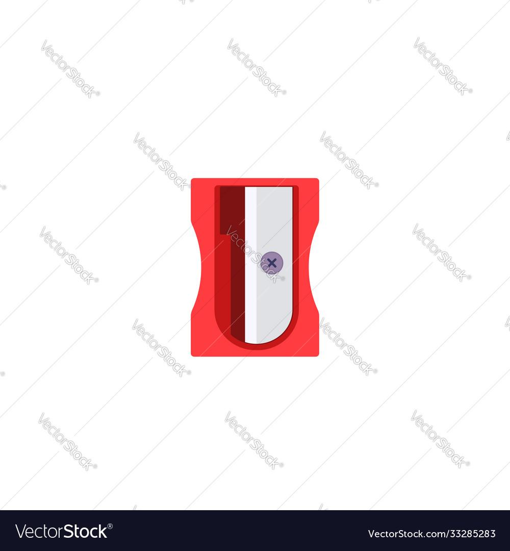 Simple plastic red pencil sharpener flat icon