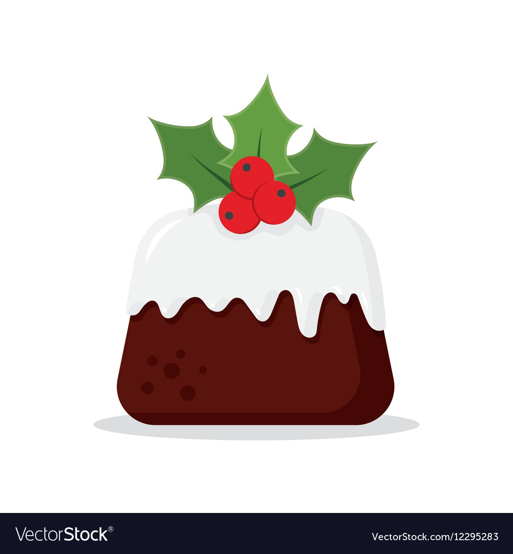 Traditional Christmas Pudding with Holly