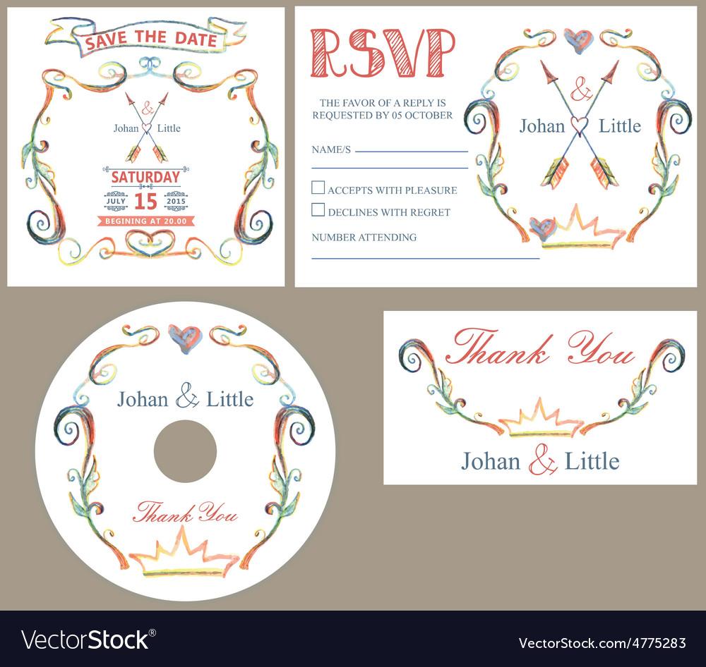 Vintage wedding design template setcolored vector image