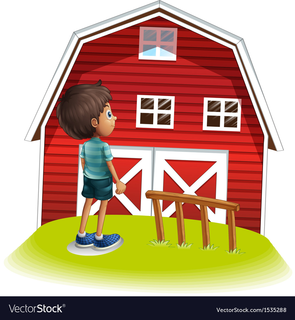A boy standing in front of the red farmhouse Vector Image for Red Farmhouse Clipart  181plt
