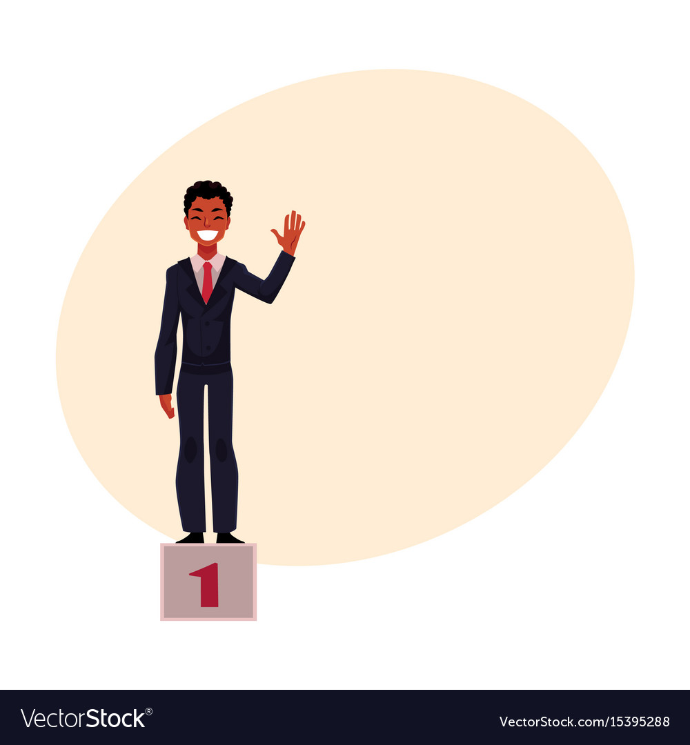 Black african american businessman on pedestal vector image