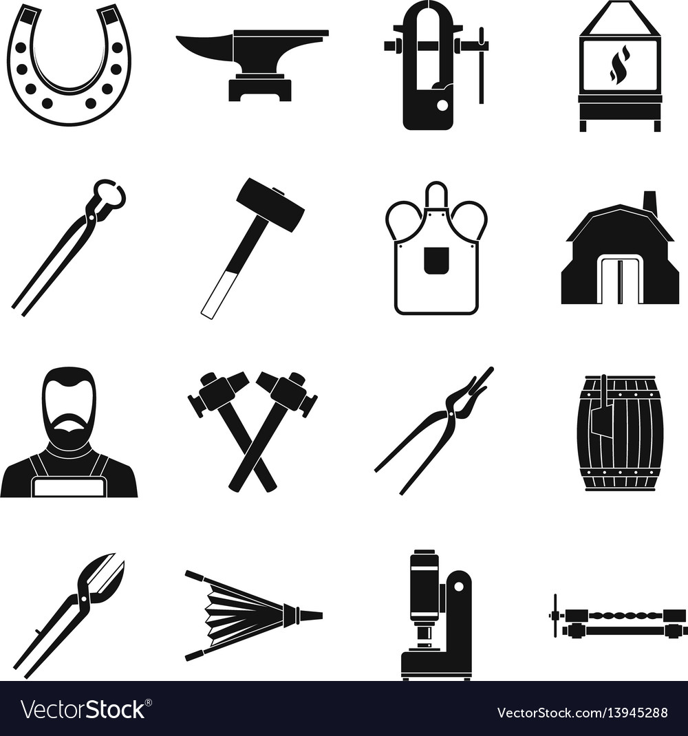 Blacksmith icons set simple style