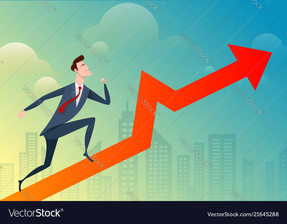 Business man run and jump pass the graph on the