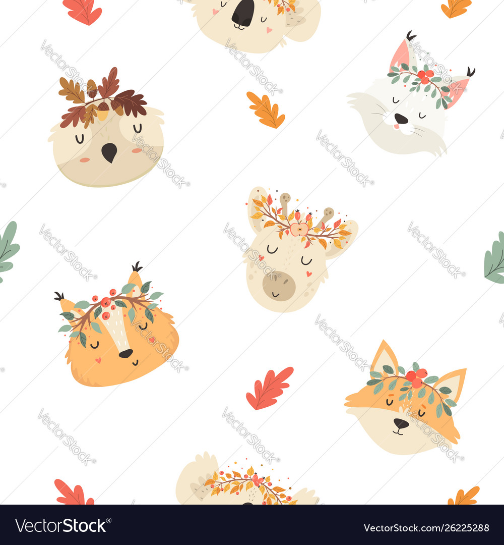 Cute seamless pattern with autumn animals in crown