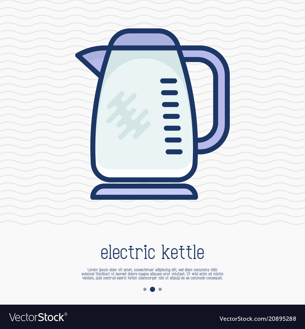 Electric kettle thin line icon