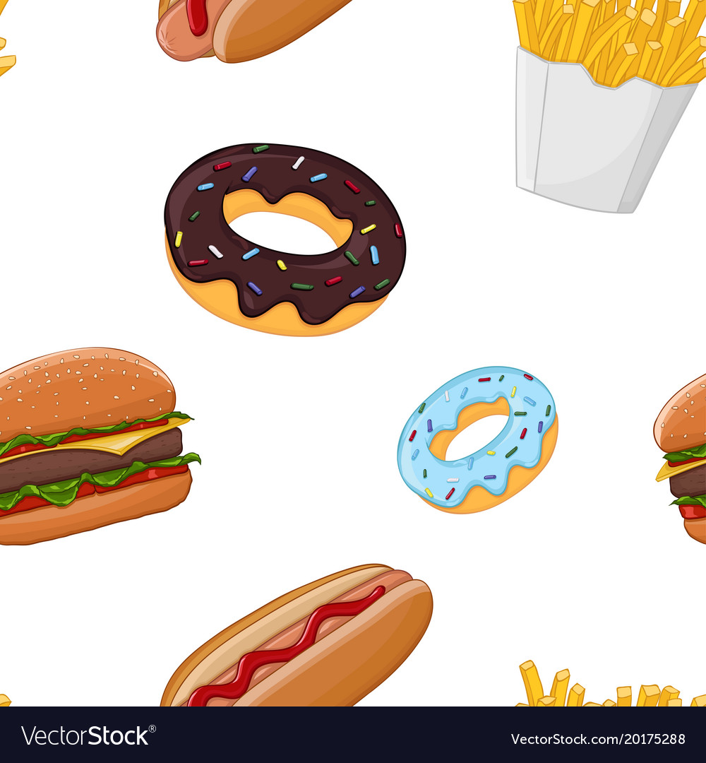 Fast food seamless pattern colored