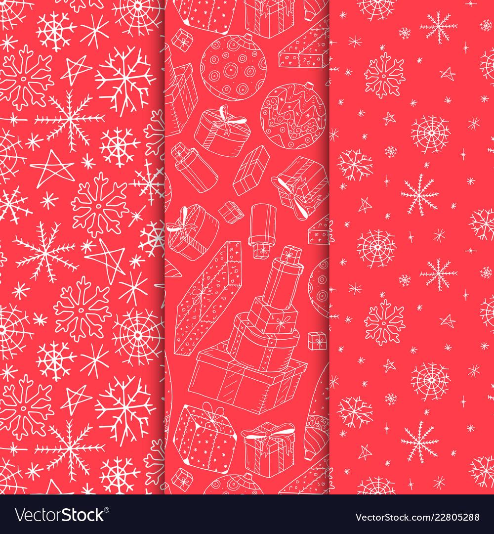Set of seamless xmas patterns - hand drawn