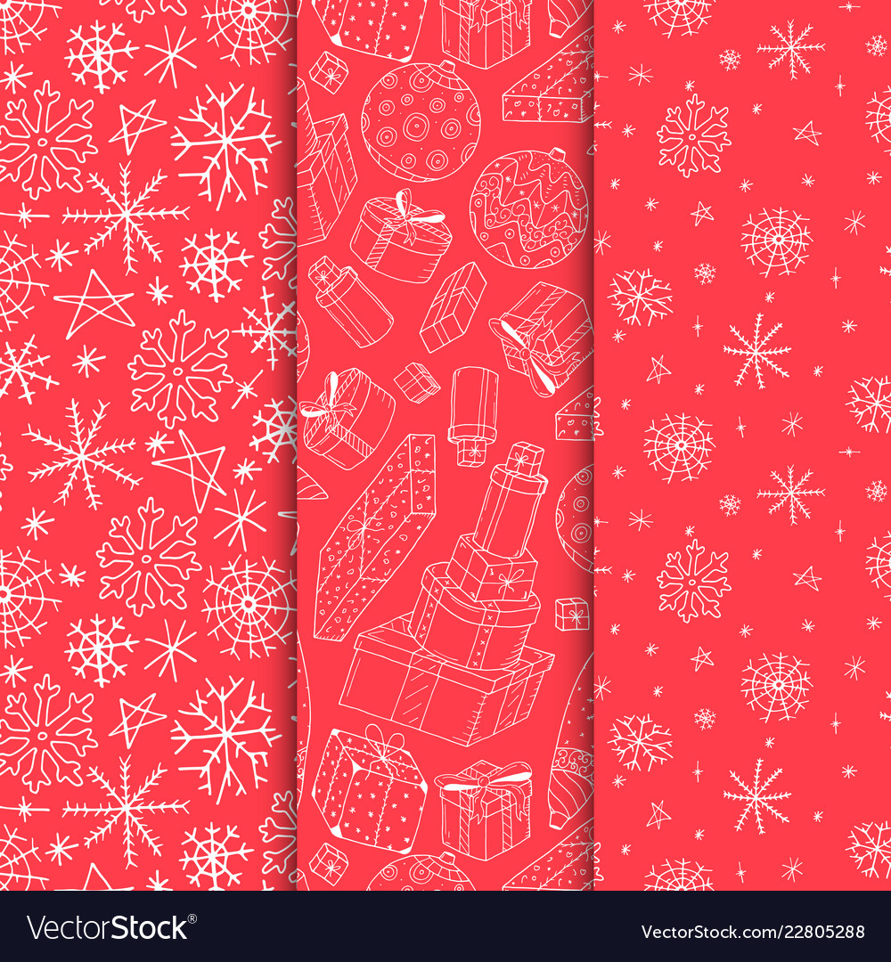 Set seamless xmas patterns - hand drawn vector