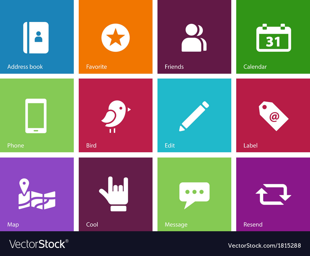 Social icons on color background
