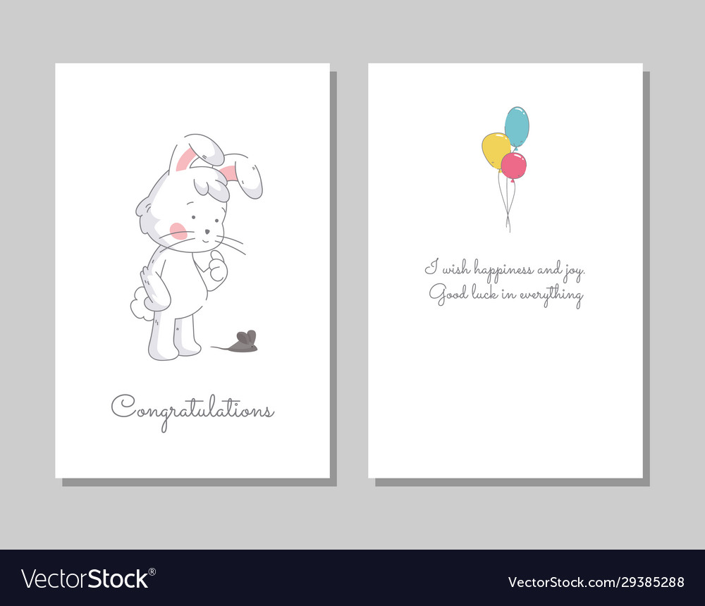 Two banners with funny cute bunny hand drawn