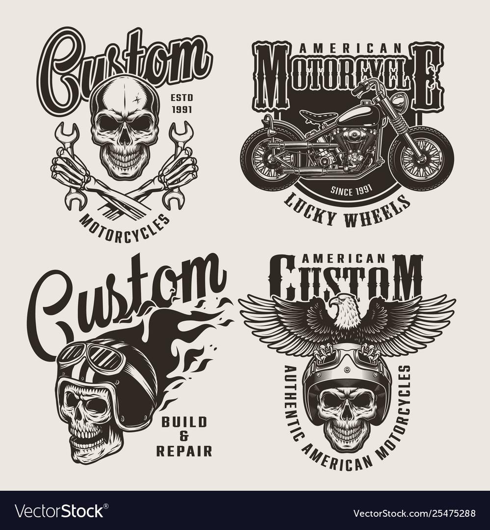 Vintage custom motorcycle prints